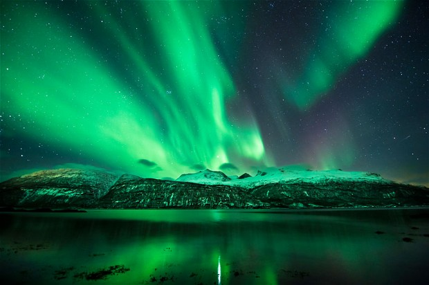 Aurora Borealis, most dramatic effects of the solar wind